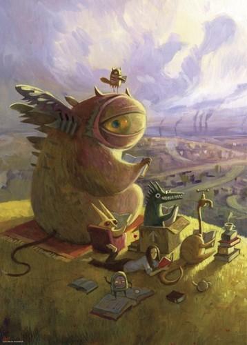 Unieke puzzel Reading group met lezende monsters - Heye