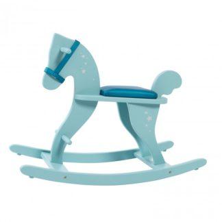 Mooi houten schommelpaard - vintage blauw